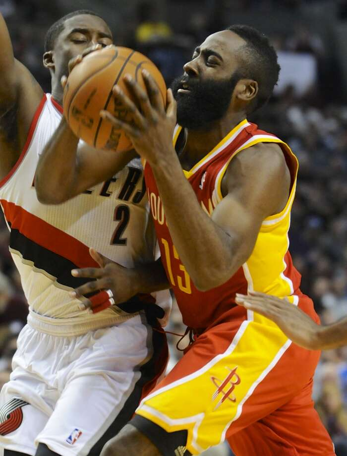 Dec. 12: Trail Blazers 111, Rockets 104James Harden (13) shoots against Wesley Matthews (2). Photo: Greg Wahl-Stephens, Associated Press