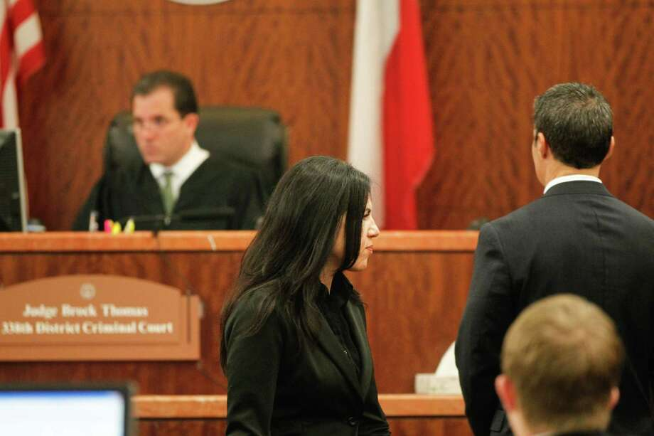 Ana Trujillo accused of killing her boyfriend with a stiletto appears in court. Photo: Johnny Hanson/Houston Chronicle