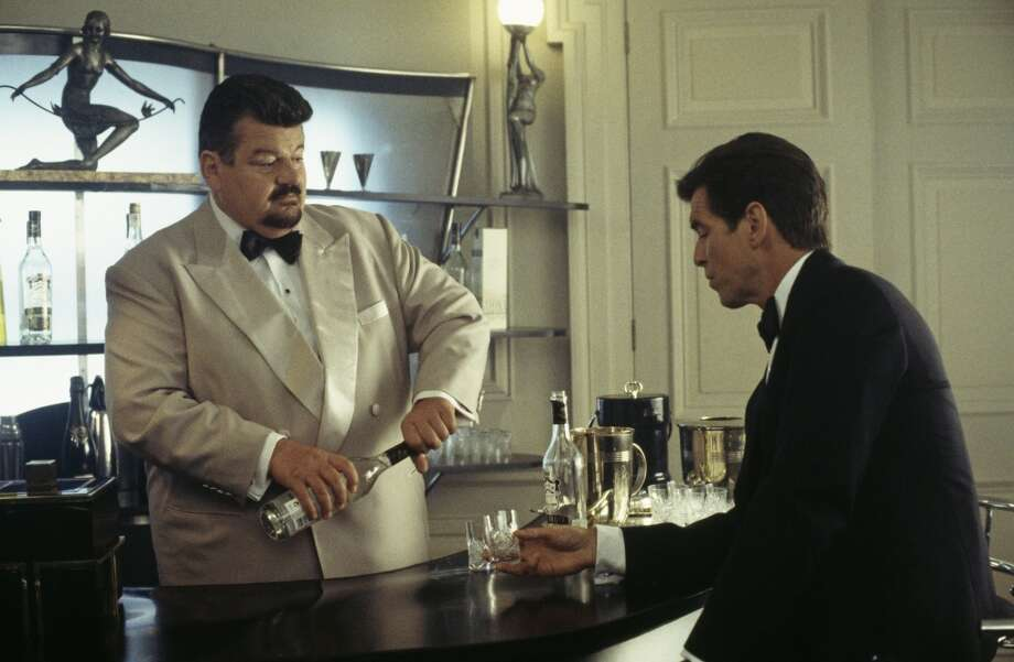 Scottish actor Robbie Coltrane as Valentin Dmitrovich Zukovsky and Irish actor Pierce Brosnan as 007 in a scene from the James Bond film 'The World Is Not Enough', 1999. Photo: Keith Hamshere, Getty Images