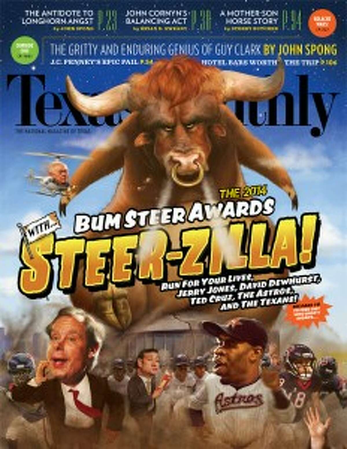 The Astrodome, Astros and Texans are all featured prominently on Texas Monthly's annual 'Bum Steer Awards' cover. The Astros' old uniform is mistakenly featured. (via Texas Monthly)