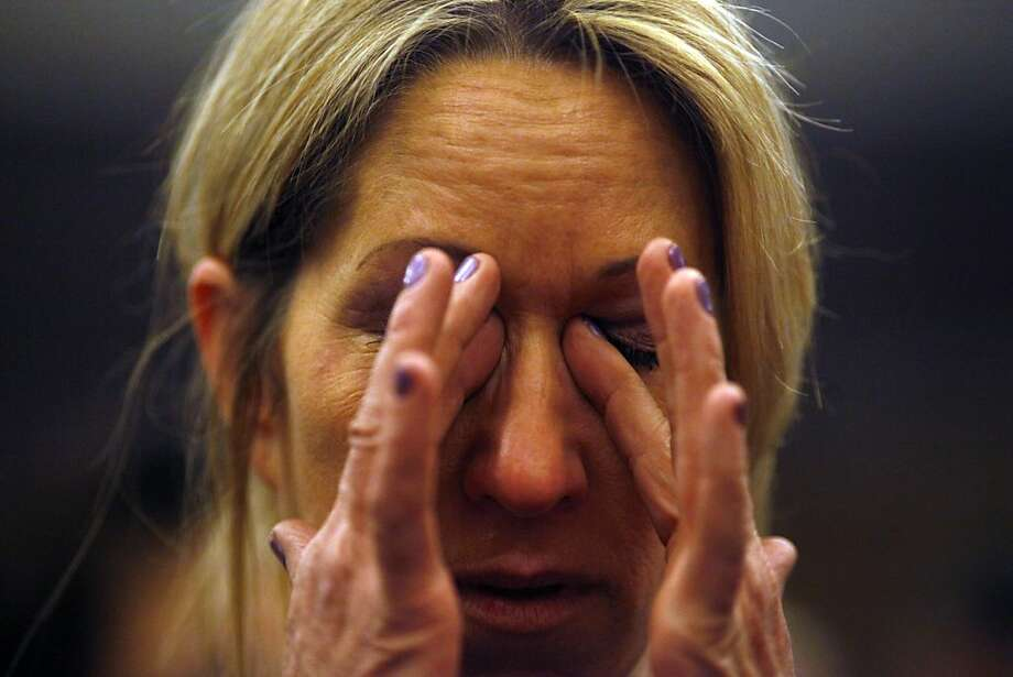 Kristen DiAngelo cries after the victims' compensation board's vote in Sacramento. Photo: Lacy Atkins, The Chronicle