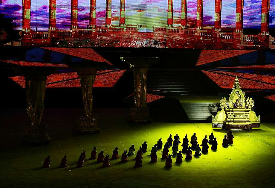 Entertainers take center stage during the opening ceremony of the 2013 Southeast Asian Games at Wunna Theikdi Stadium in Nay Pyi Taw, Burma. Photo: Suhaimi Abdullah, Getty Images