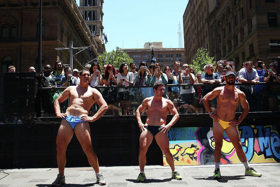 Sydneysiders take part in the 'AIME Strut the Streets' parade in Martin Place on December 13, 2013 in Sydney, Australia. Photo: Lisa Maree Williams, Getty Images / 2013 Getty Images