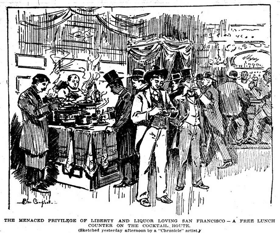 """The menaced privilege of liberty and loving San Francisco - a free lunch counter on the cocktail route."" Originally published August 1, 1896. Photo: Chronicle 1896"