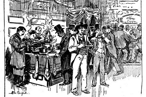 """The menaced privilege of liberty and loving San Francisco - a free lunch counter on the cocktail route."" Originally published August 1, 1896."