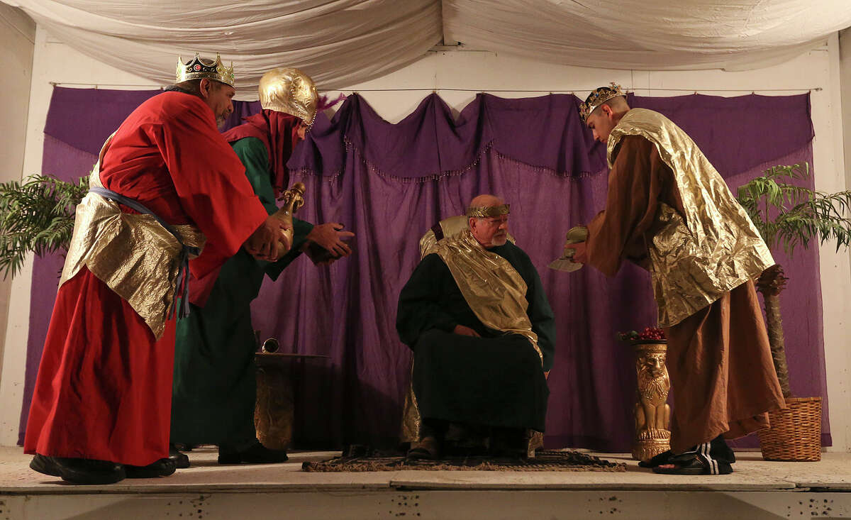 Gateway Church in southwest San Antonio is re-enacting, 'Christmas City,' the Bethlehem story of Christmas for the last time. The re-enactments will start on Thursday and run through Sunday. The church is located at 6623 Five Palms Drive.Here, the Three Wise Men show their gifts to King Herod, who is seated and played by Charley Houston, during a dress rehearsal of the Christmas story at the Gateway Church grounds. The Wise Men are from left, Raul Aleman, Mark Schlotfeldt, and Adrian Mejia.