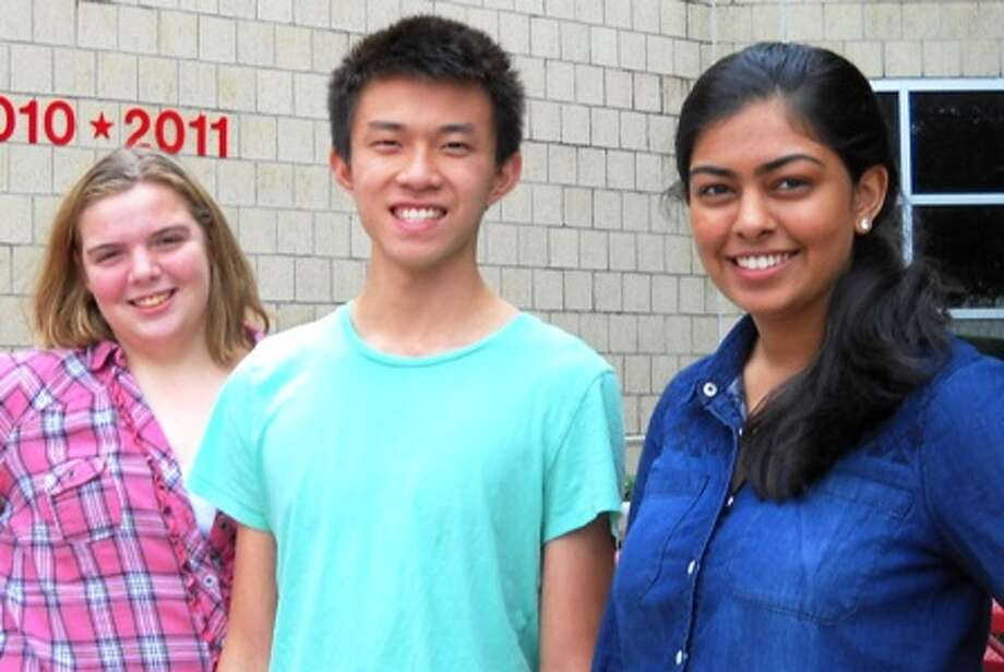 Clear Brook High School seniors, from left, Kathryn Jernigan, Brian Nguyen and Ruchika Bengani have been awarded Rotary Club scholarships. Photo: Provided By Clear Brook High School