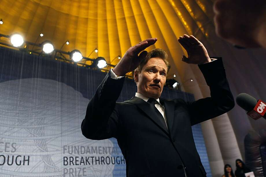 Comedian Conan O'Brien talks about science and other funny things on the red carpet at the Breakthrough Prize ceremony. Photo: Michael Short, The Chronicle