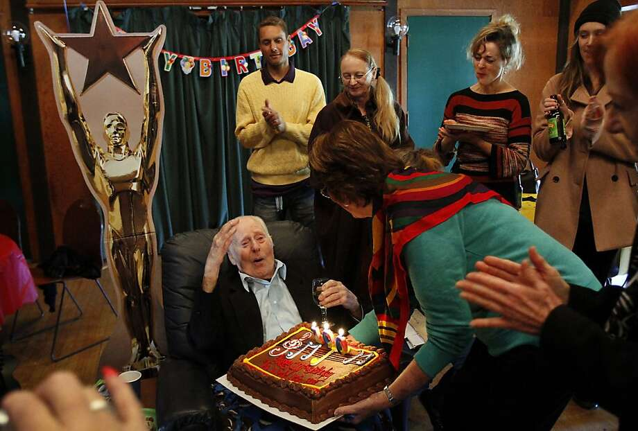 "Friends and relatives of Marc Platt sing ""Happy Birthday"" during his 100th birthday celebration last week in Mill Valley. Photo: Sarah Rice, Special To The Chronicle"