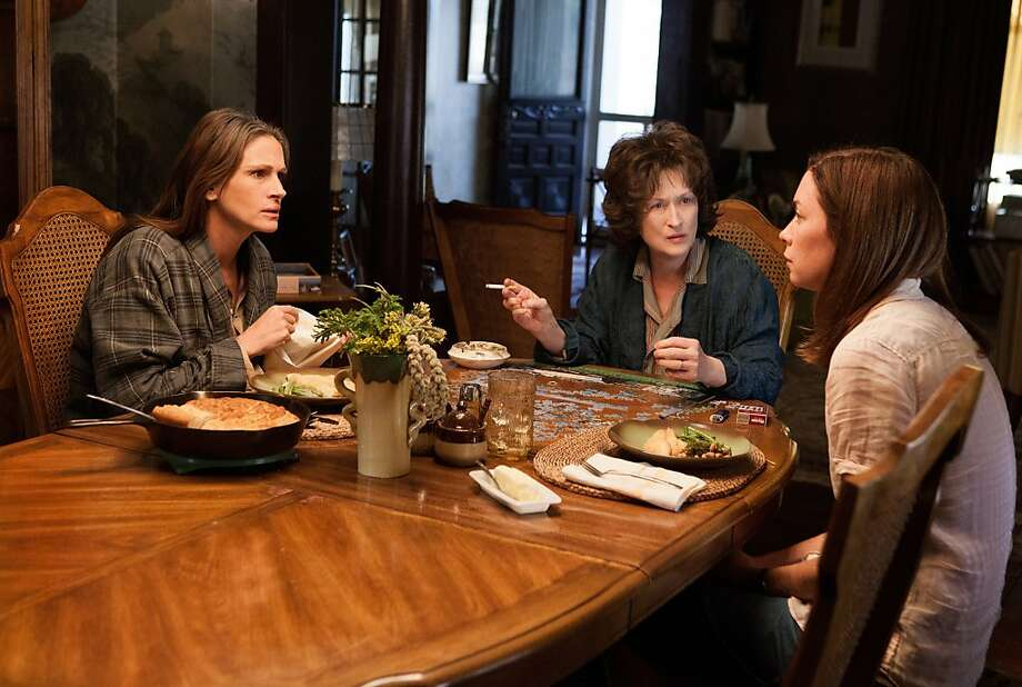 "Julia Roberts, Meryl Streep and Julianne Nicholson in ""August: Osage County."" (L-R) JULIA ROBERTS, MERYL STREEP and JULIANNE NICHOLSON star in AUGUST: OSAGE COUNTY Photo: Weinstein Co."
