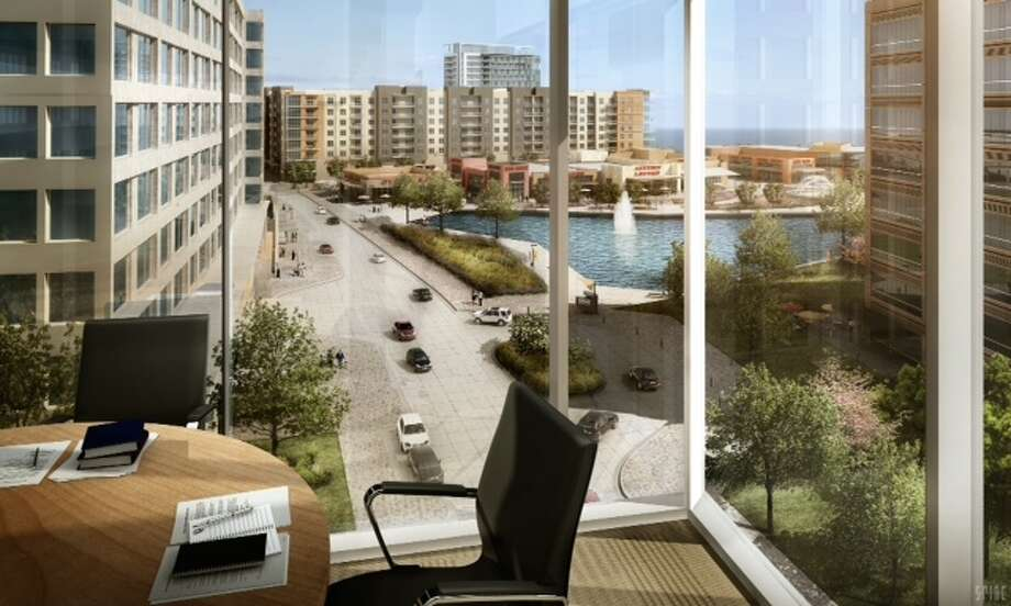 A rendering looking out of an office in one of the Kirksey-designed buildings that will be occupied by Exxon Mobil Corp. Photo: Courtesy Of The Woodlands Development Co.