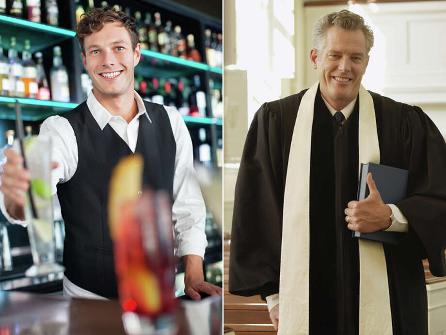 Bartender – $20,950 Clergy – $48,690 Photo: Getty Images Composite