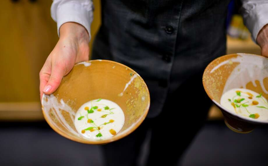 2nd Course: Cauliflower Veloute,  lobster gelee, lobster mushroom oil. (Ashley Christensen) Photo: Bonjwing Lee Photography