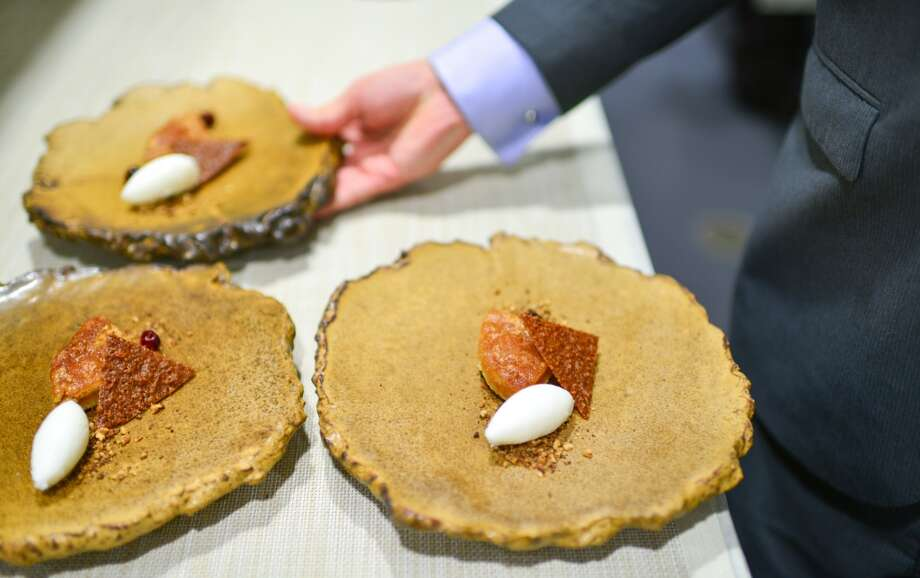 7th Course: Pecan Pie. Pecan tuile, buttermilk sorbet. (The Restaurant at Meadowood) Photo: Bonjwing Lee Photography
