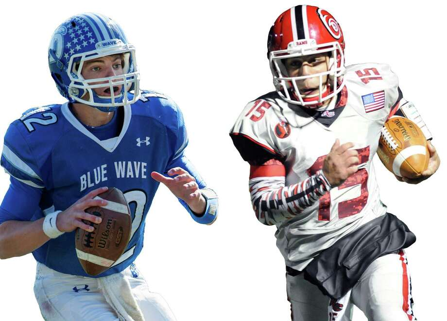 Quarterbacks Silas Wyper, left, and Nick Cascione lead Darien and New Canaan into Saturday's state championship. Photo: File, Stamford Advocate / Stamford Advocate