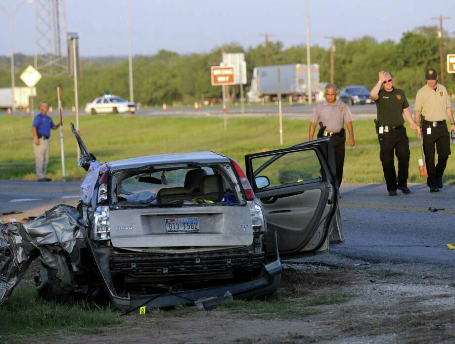 This is the Volvo station wagon that David Rodriguez hit. It was carrying a family of six, and a 3-year-old boy and his 1-year-old brother died. Photo: Billy Calzada / San Antonio Express-News / © San Antonio Express-News