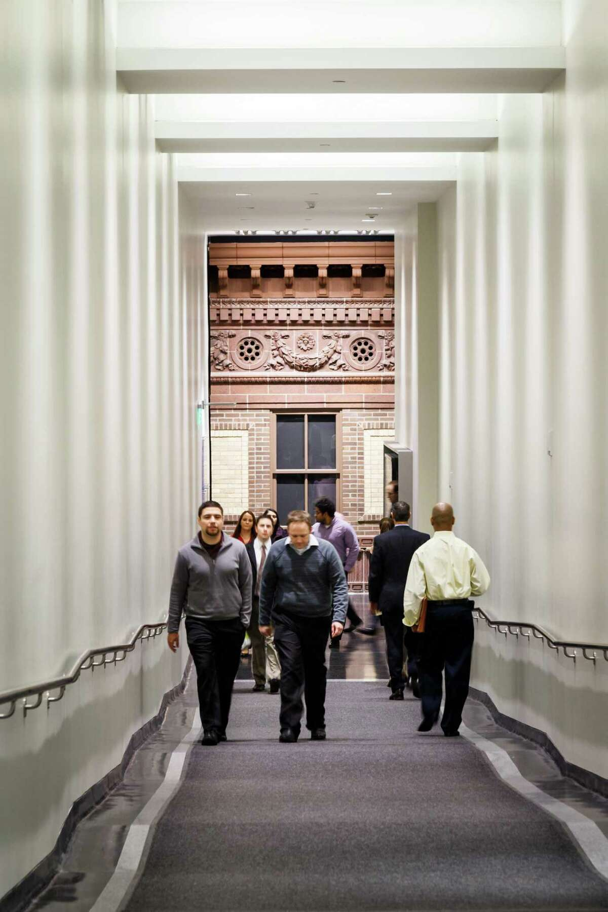 A hallway leads to the downtown tunnel at Walker and Main under 811 Main. The building, which has inspired development nearby, is a finalist in an Urban Land Institute contest.