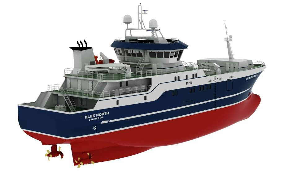 This computer drawing provided by Blue North Fisheries shows a 190-foot commercial fishing boat design. The boat is intended to be safer for workers by positioning fishermen behind the protection of the boat's hull instead of up on deck. Photo: HOEP / Blue North Fisheries