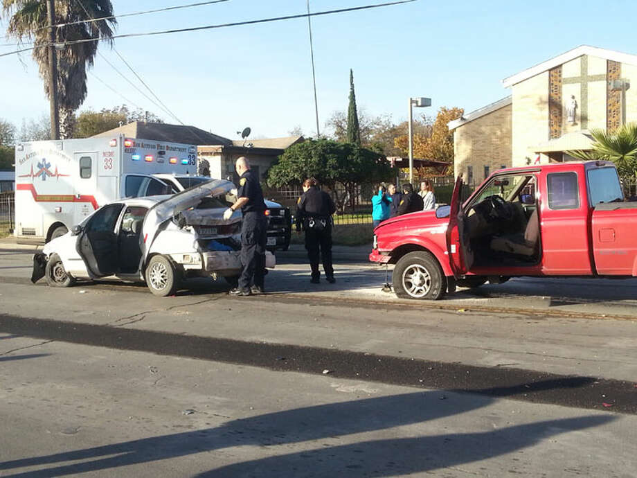Two vehicles are among three involved in a major accident on the 2100 block of South Zarzamora. Photo: Jolene Almendarez
