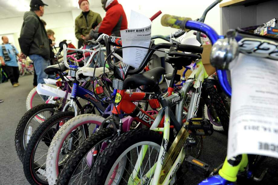 Some of the remaining children's second-hand bikes at the Troy Bike Rescue giveaway on Saturday, Dec. 14, 2013, at the Troy Police North Station in Troy, N.Y. (Cindy Schultz / Times Union) Photo: Cindy Schultz / 00024939A