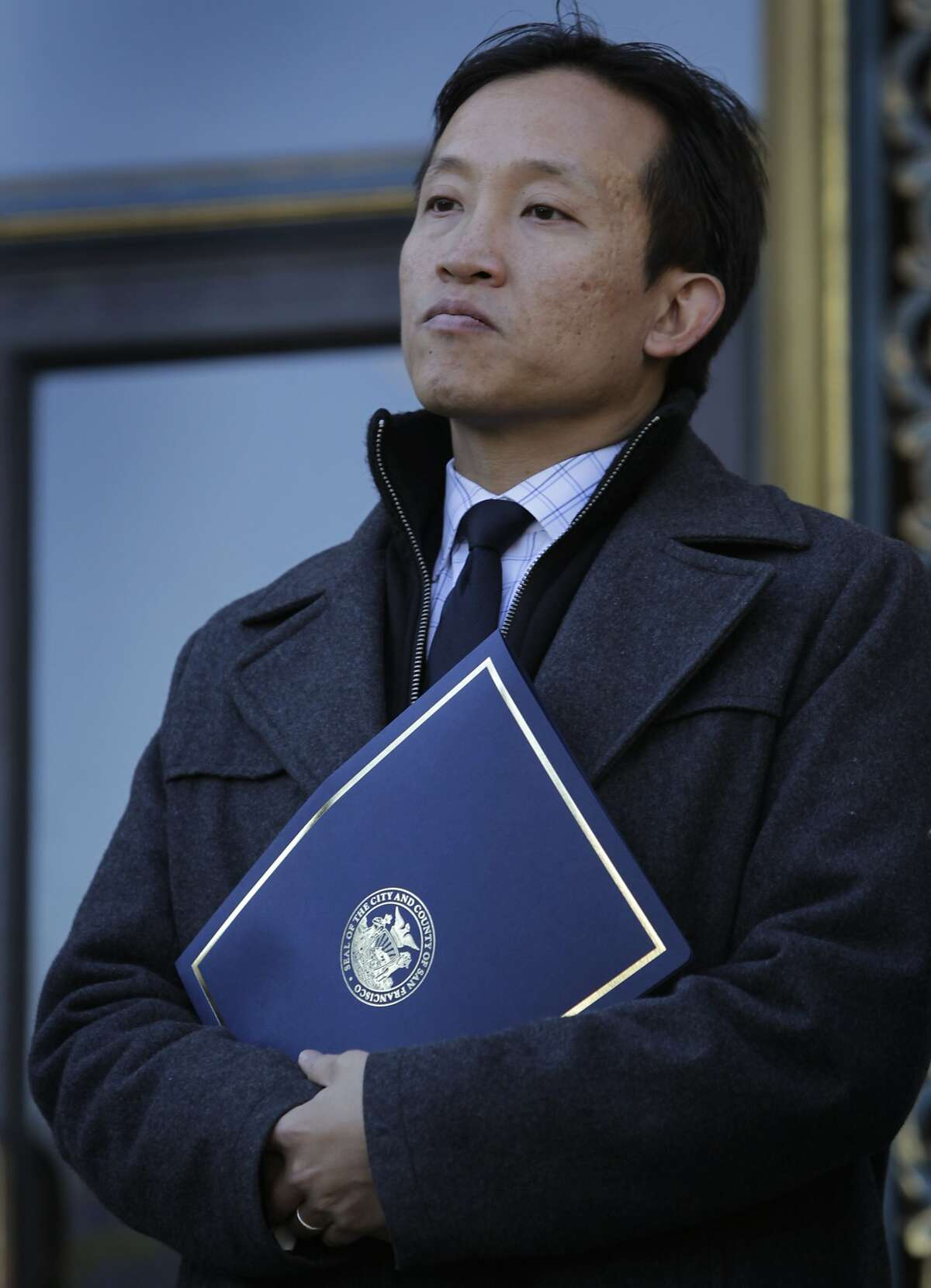Supervisor David Chiu appears at a memorial service to mark the first anniversary of the Sandy Hook Elementary School shooting in San Francisco, Calif. on Friday, Dec. 13, 2013. Chiu is running against Supervisor David Campos for the 17th State Assembly District seat.