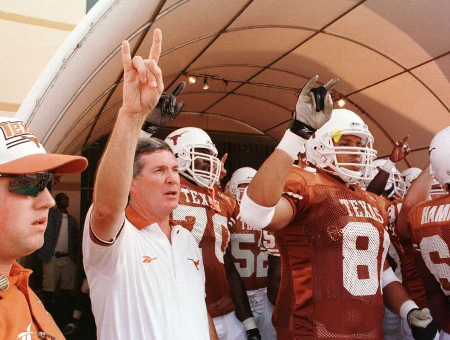 1998 seasonUnlike predecessors David McWilliams and John Mackovic, Mack Brown hooked a victory in his first game at Texas. The Longhorns went 9-3 in Brown's first season and defeated Mississippi State in the Cotton Bowl. Photo: D. Fahleson, Houston Chronicle