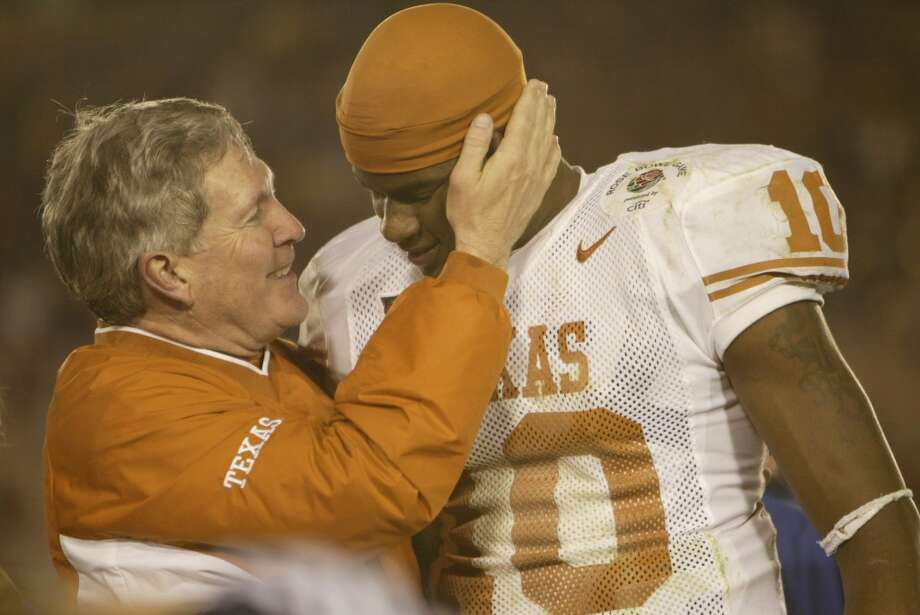 2004 seasonMack Brown and quarterback Vince Young celebrate after beating Michigan in the Rose Bowl Game which capped an 11-1 season. Photo: Kevin Fujii, Houston Chronicle