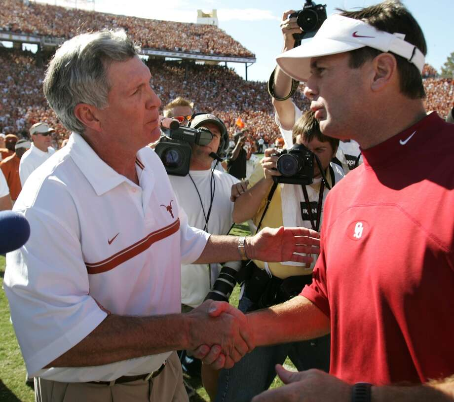 2005 season  For the first time since 1999, Mack Brown, left, got the better of Bob Stoops in their annual showdown in Dallas. Photo: Brett Coomer, Houston Chronicle