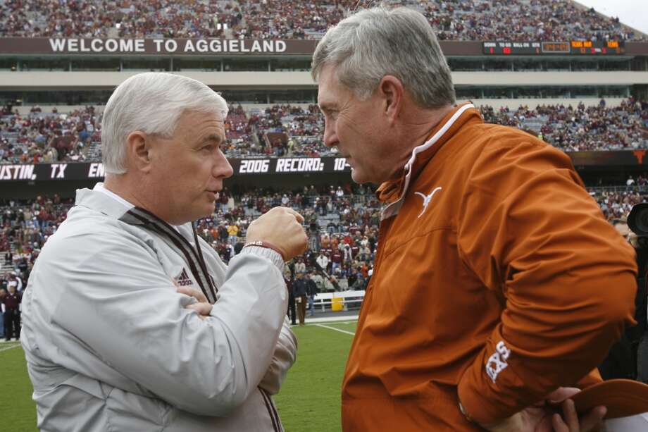 2007 season  Mack Brown and Texas A&M head coach Dennis Franchione talk before the Aggies' 38-30 win. For the second straight season the Longhorns finished 10-3. UT defeated Arizona State in the Holiday Bowl. Photo: Kevin Fujii , Houston Chronicle