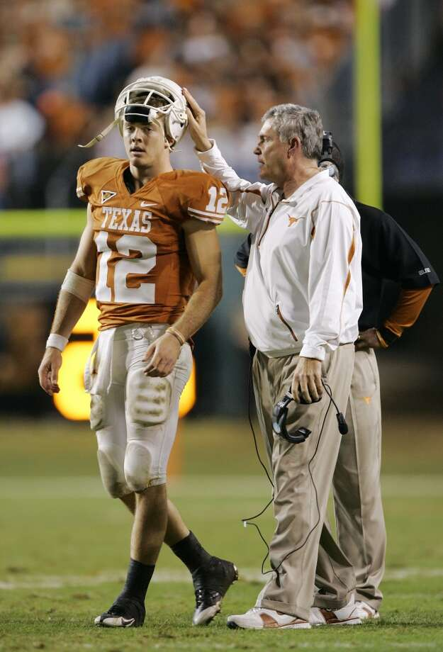 2008 season  Mack Brown sends quarterback Colt McCoy back into the game in the Longhorns' 49-9 win over Texas A&M. UT finished the season with an 11-1 record. Photo: Brian Bahr, Getty Images