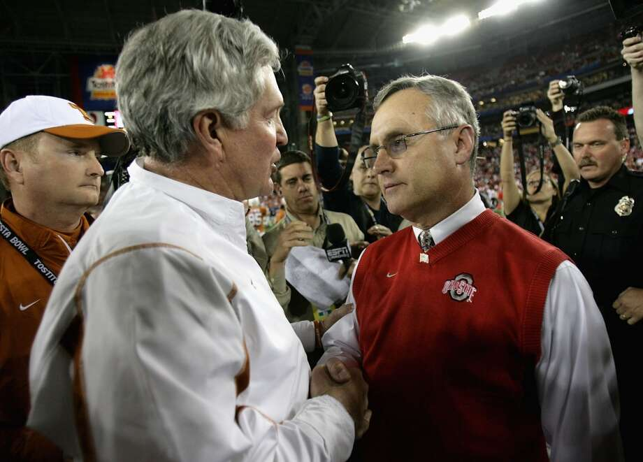 2008 season  Mack Brown greets Ohio State coach Jim Tressel after the Longhorns defeated the Buckeyes in the Fiesta Bowl. Photo: Doug Pensinger, Getty Images