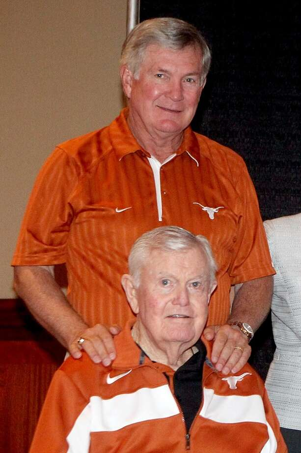 Mack Brown and Darrell K Royal attend a breakfast recognizing Coach Royal's fifty-five years of service to the University  of Texas on May 9, 2012. Royal died on November 7, 2012 in Austin. Photo: Gary Miller, FilmMagic