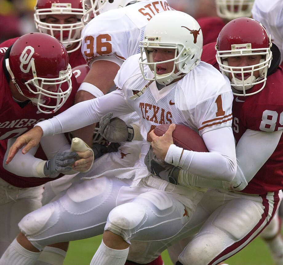 Oct. 7, 2000 — The first of five straight losses to the rival Sooners, and the first of four inexplicable blowout losses by UT under Mack Brown in the series. PHOTO: 