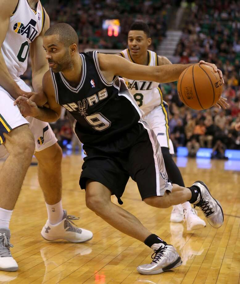 San Antonio Spurs' Tony Parker drives to the basket during a game against the Utah Jazz during the second half of an NBA basketball game in Salt Lake City, Friday, Nov. 15, 2013. The spurs beat the Jazz 91-82. (AP Photo/George Frey) Photo: GEORGE FREY, Associated Press