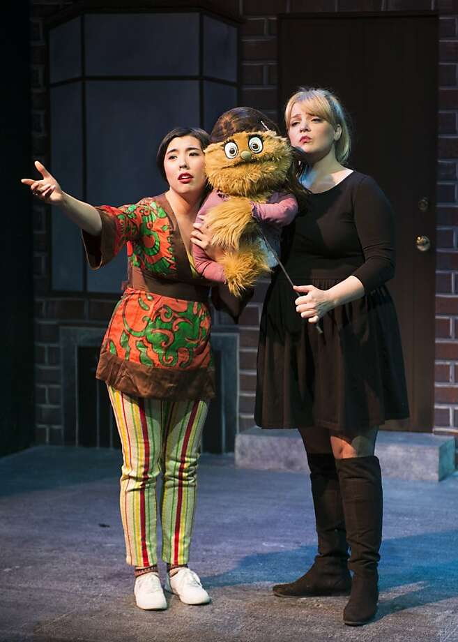 "Teresa Attridge, left, as Christmas Eve and Stephanie Temple (Kate/Lucy) in New Conservatory Theatre's ""Avenue Q"" Photo: Lois Tema"