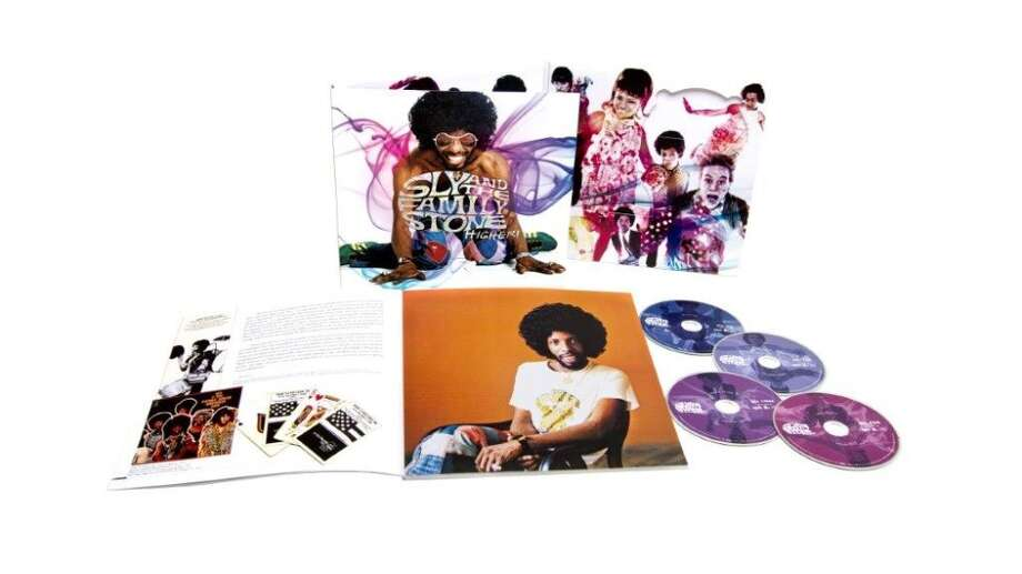 "Sly and the Family Stone ""Higher"" (Legacy, $49.98) This four-disc set gives fans the opportunity to dissect the stereo, mono and live versions of familiar hit singles like ""Thank You (Falettinme Be Mice Elf Agin)"" and ""Dance to the Music."" But it's the hit-and-miss 17 unreleased tracks the San Francisco band knocked out during its heyday that the label is banking on to get most people to splurge. The dealmaker might be the 104-page booklet that accompanies the music, filled with seldom-seen pictures and artifacts from the era when Sly ruled the world."