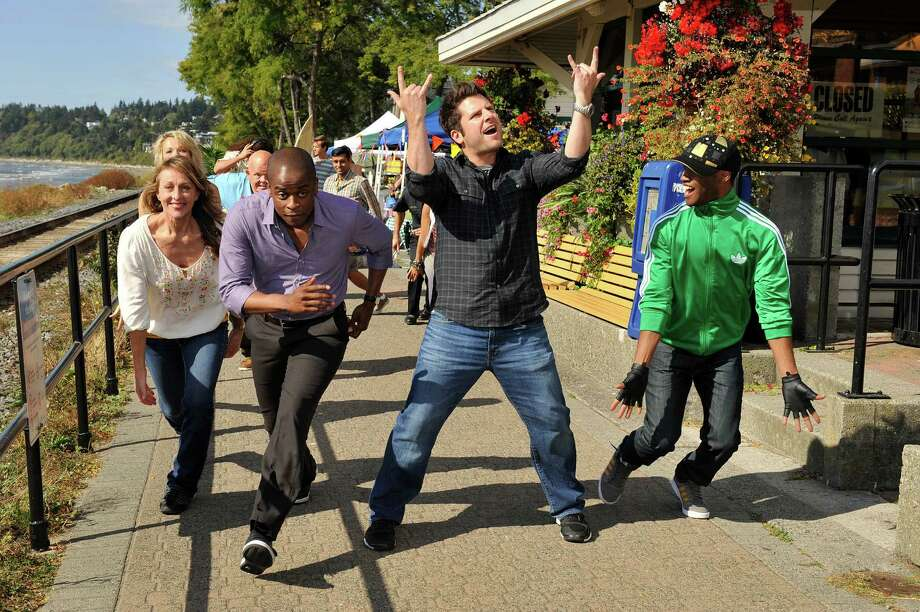 San Antonio native James Roday and his 'Psych' co-star, Dulé Hill, sing, dance and wreak all kinds of silly havoc as the body count mounts in a special two-hour musical episode of USA's crime romp. Photo: USA Network, Courtesy Of USA Network / 2012 USA Network Media, LLC