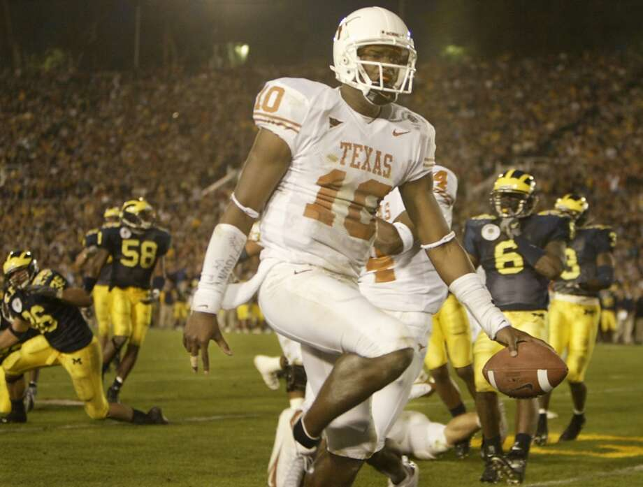 No. 6 Texas 38, No. 13 Michigan 37 Jan. 1, 2005  Vince Young's national breakout game and Dusty Mangum's wobbly field goal give the Longhorns their first BCS bowl win. Photo: Kevin Fuji, Houston Chronicle