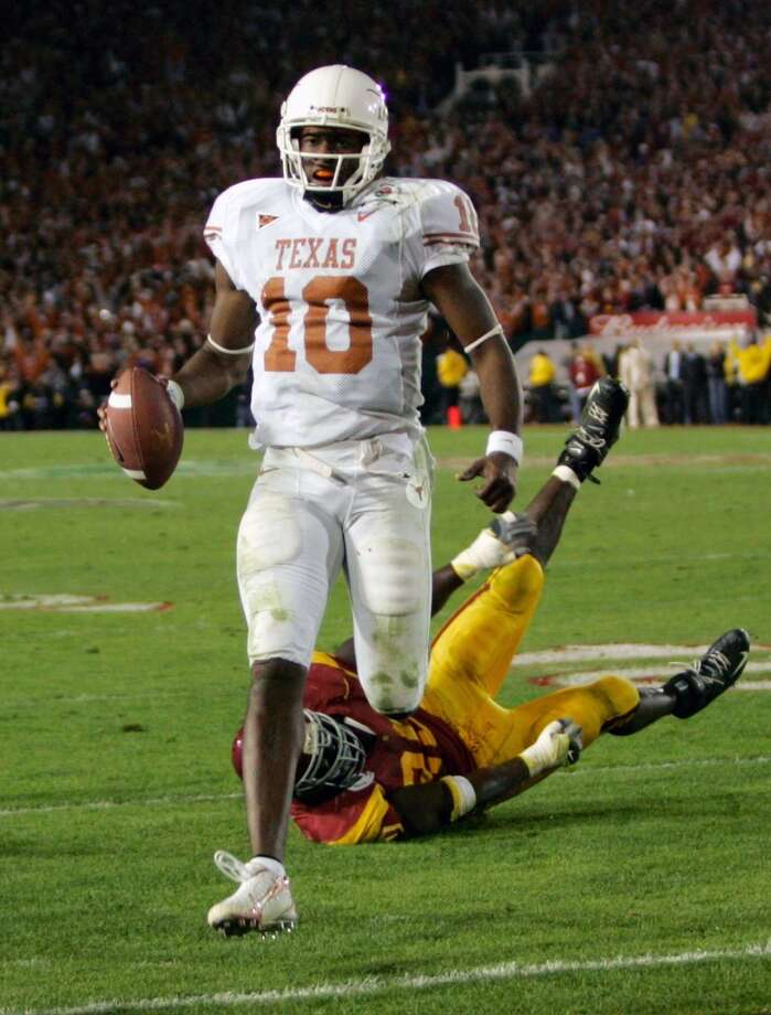 No. 2 Texas 41, No. 1 USC 38 Jan. 4, 2006  Young scores the winning touchdown on fourth down. Texas wins first undisputed national championship since 1969. Photo: Mike Blake, Reuters