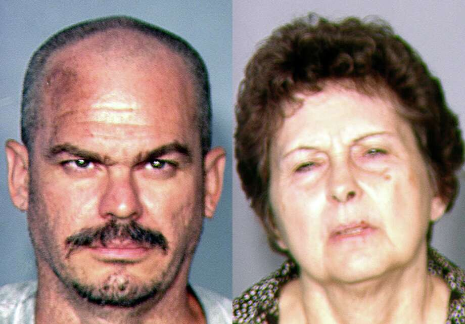 This combination of file photos provided by the Las Vegas Metropolitan Police Department on Aug. 22, 2013, shows David Allen Brutsche, left, and Devon Campbell Newman, who were arrested in Las Vegas. A Nevada judge on Monday, Dec. 9, 2013 cited the lesser charges remaining and reduced bail for the couple accused during their high-profile arrests last summer of conspiring to kidnap police officers to draw attention to an anti-government sovereign citizen philosophy. Photo: AP / Las Vegas Metropolitan Police Department