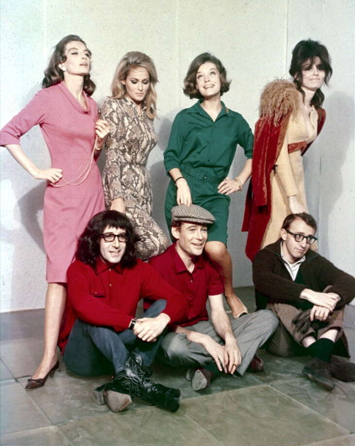 "Paula Prentiss (top far right) with actors Romy Schneider, Peter O'Toole, Ursula Andress, Peter Selers and Woody Allen for the film ""What's New Pussycat?"" Photo: API, Gamma-Rapho Via Getty Images / 2012 Gamma-Rapho"