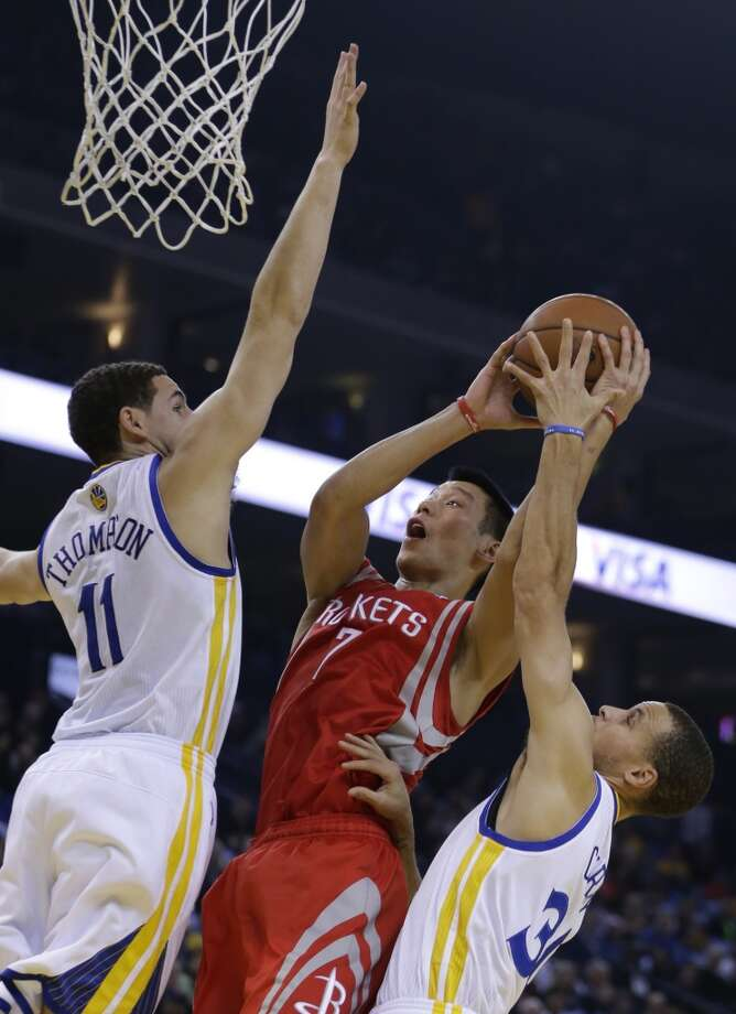 Dec. 13: Rockets 116, Warriors 112  Jeremy Lin (7) shoots between Klay Thompson, left, and Stephen Curry. Photo: Ben Margot, Associated Press