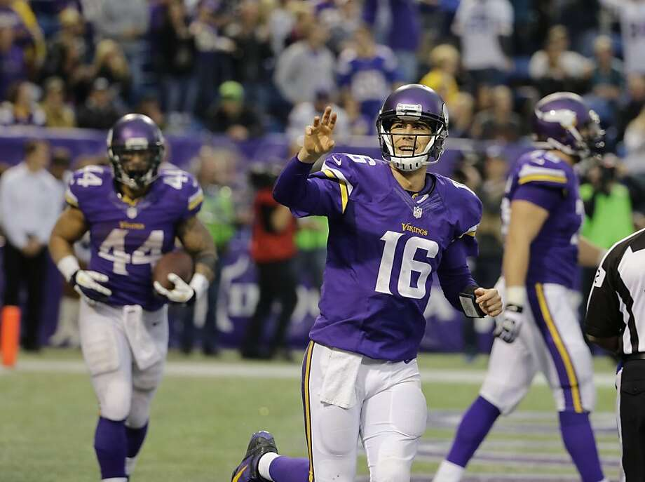 Replacements Matt Cassel (16) and Matt Asiata (44) each accounted for three Vikings TDs. Photo: Ann Heisenfelt, Associated Press