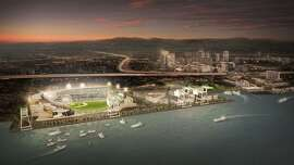Artist's rendering of a proposed ballpark for the Oakland A's on the waterfront north of Jack London Square.