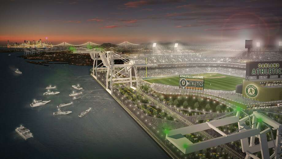 Artist's rendering of a proposed ballpark for the Oakland A's on the waterfront north of Jack London Square. Photo: MANICA Architecture