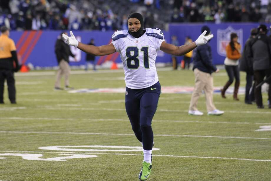 Seattle Seahawks wide receiver Golden Tate (81) gestures while leaving the field after an NFL football game against the New York Giants, Sunday, Dec. 15, 2013, in East Rutherford, N.J. The Seahawks won 23-0. (AP Photo/Bill Kostroun) Photo: Bill Kostroun, AP