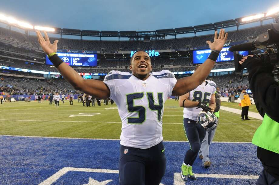 Seattle Seahawks middle linebacker Bobby Wagner (54) gestures while leaving the field after an NFL football game against the New York Giants, Sunday, Dec. 15, 2013, in East Rutherford, N.J. The Seahawks won 23-0. (AP Photo/Bill Kostroun) Photo: Bill Kostroun, AP