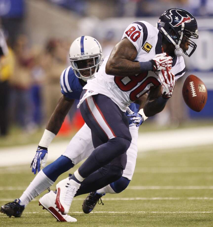 Texans receiver Andre Johnson is unable to make a catch versus the Colts. Photo: Brett Coomer, Houston Chronicle