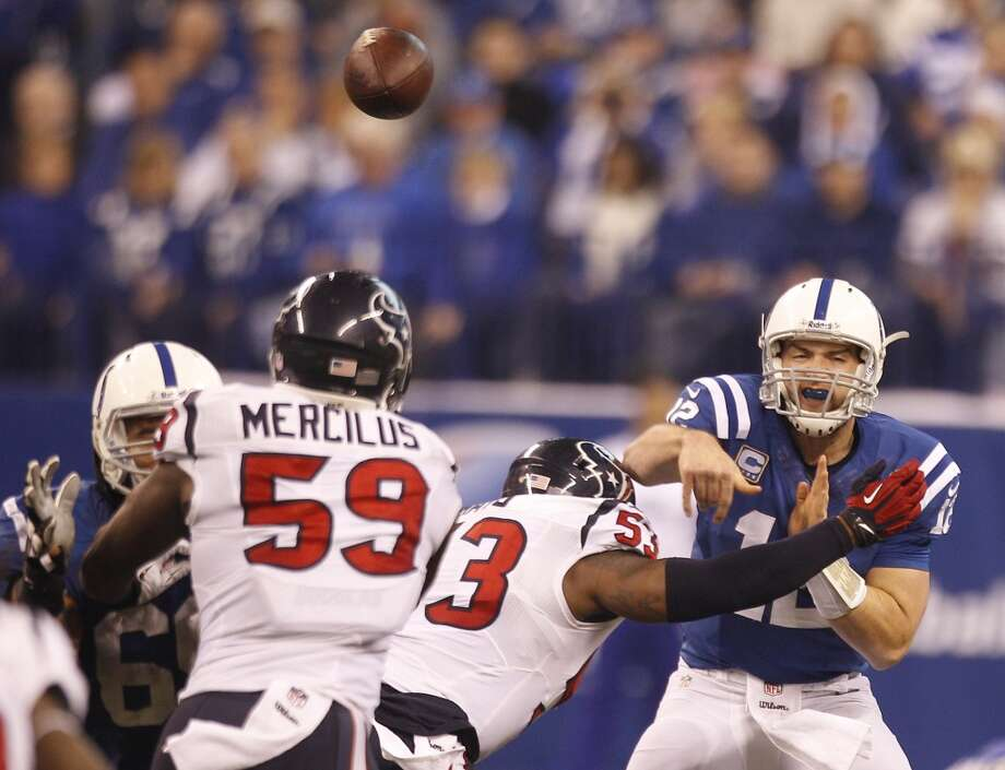 Colts quarterback Andrew Luck releases a throw against the Texans. Photo: Brett Coomer, Houston Chronicle