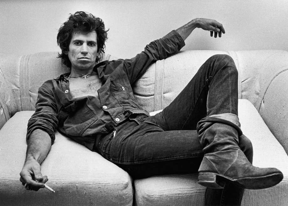 Guitarist Keith Richards of the Rolling Stones, lounges in his New York City, New York, office during a 1980 portrait session. Photo: George Rose, Getty Images / 1980 George Rose